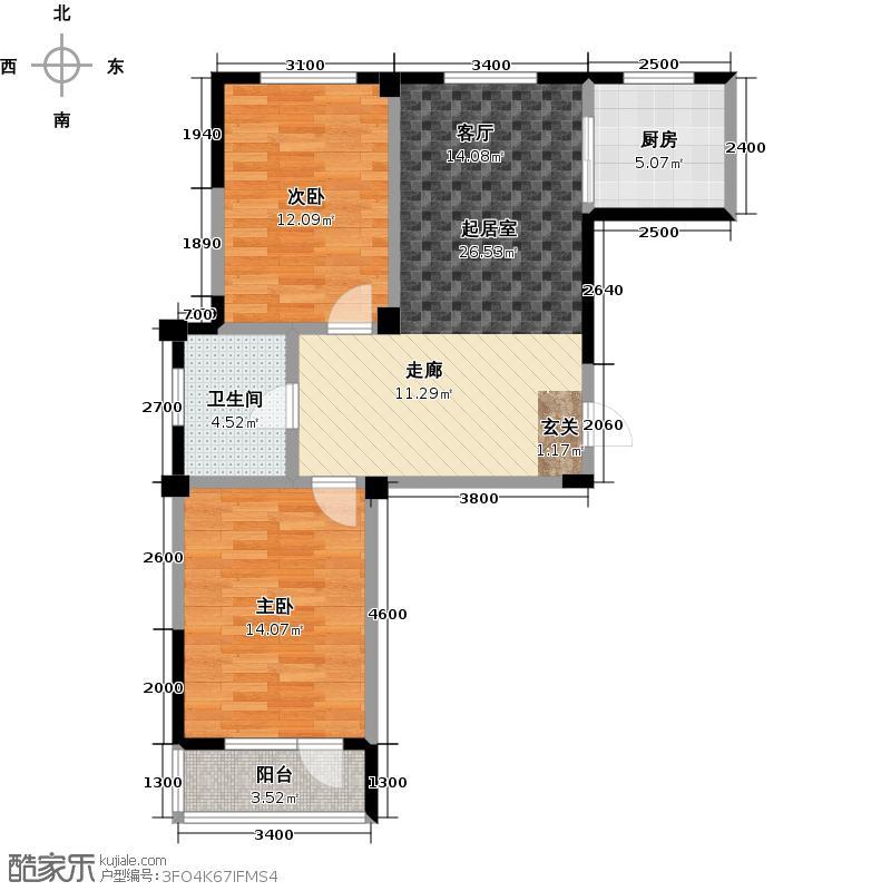 嵩森平安里88.08㎡两室两厅户型