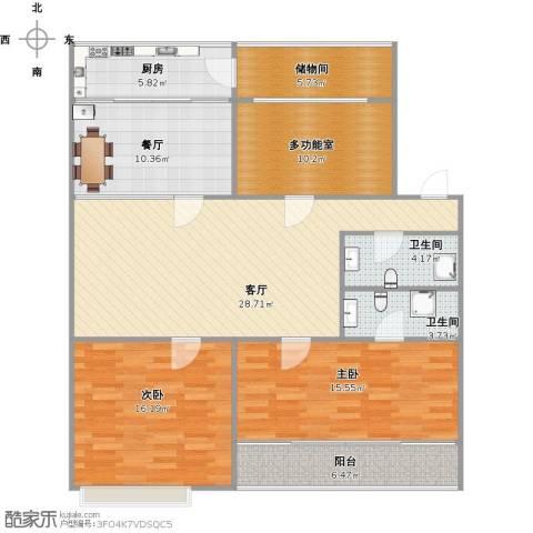 泉印兰亭2室2厅2卫1厨144.00㎡户型图