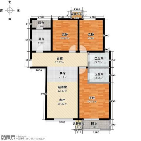 诚安逸品花园3室0厅2卫1厨124.00㎡户型图