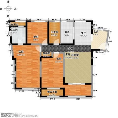 万宇御湖郡3室0厅2卫1厨136.00㎡户型图