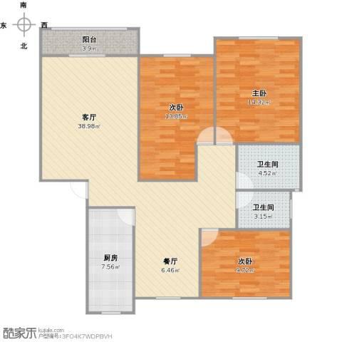 浦发绿城3室1厅2卫1厨128.00㎡户型图