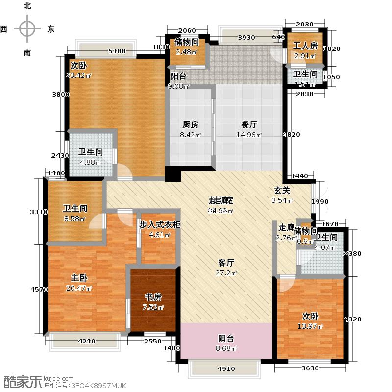 北京星河湾242.00㎡C9三室两厅三卫户型