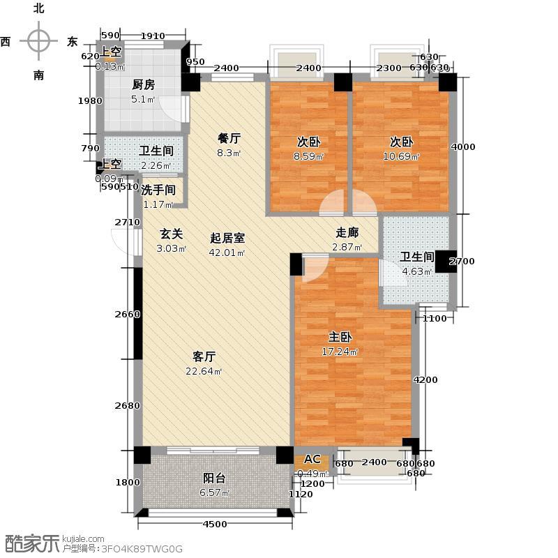 奥林匹克花园79#J3户型:三房二厅二卫户型