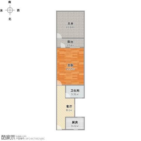曹杨五村1室1厅1卫1厨60.00㎡户型图