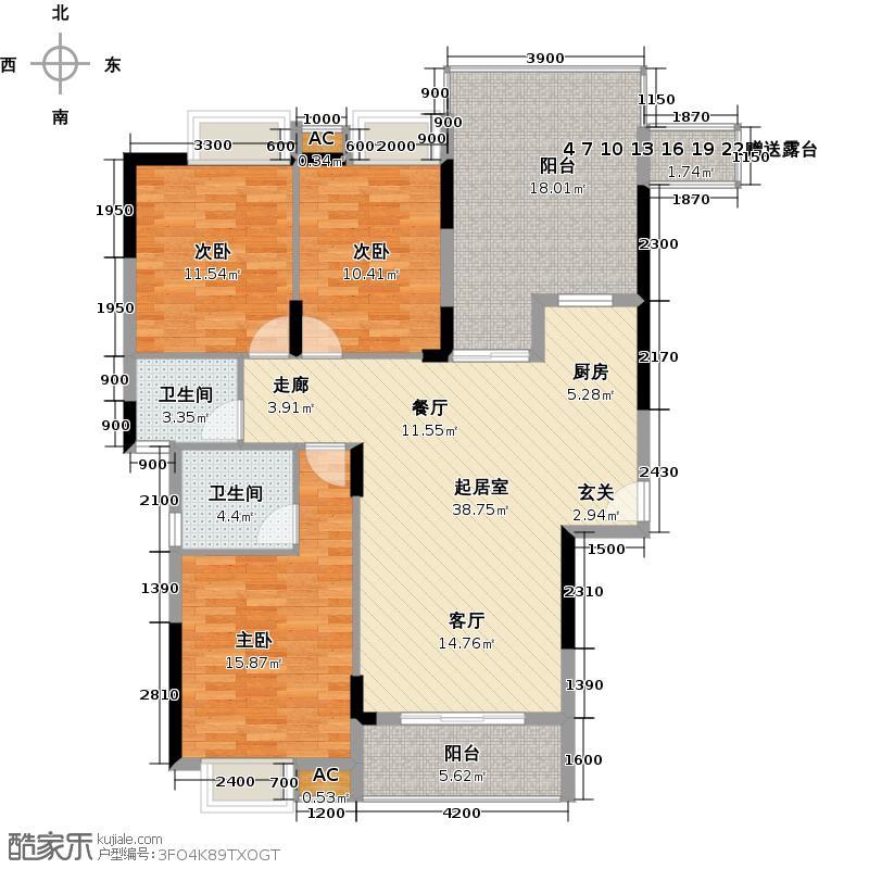 奥林匹克花园136.00㎡23#a3房2厅2卫户型3室2厅2卫