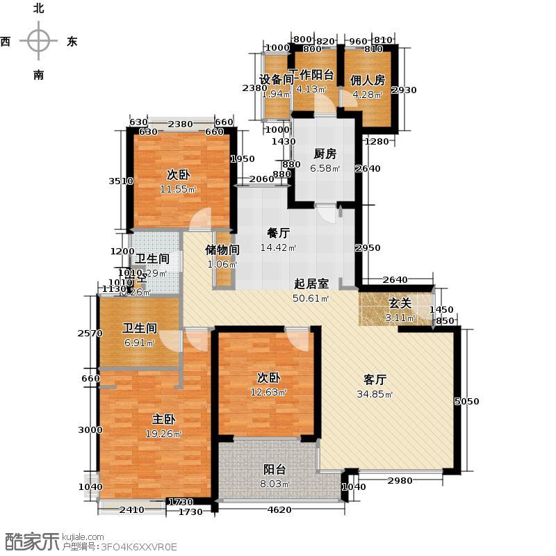 绿洲香岛花园(绿洲长岛花园五期)D型(超炫三房)建筑面积:166.82㎡户型