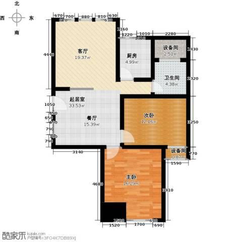 中天锦庭2室0厅1卫1厨88.00㎡户型图