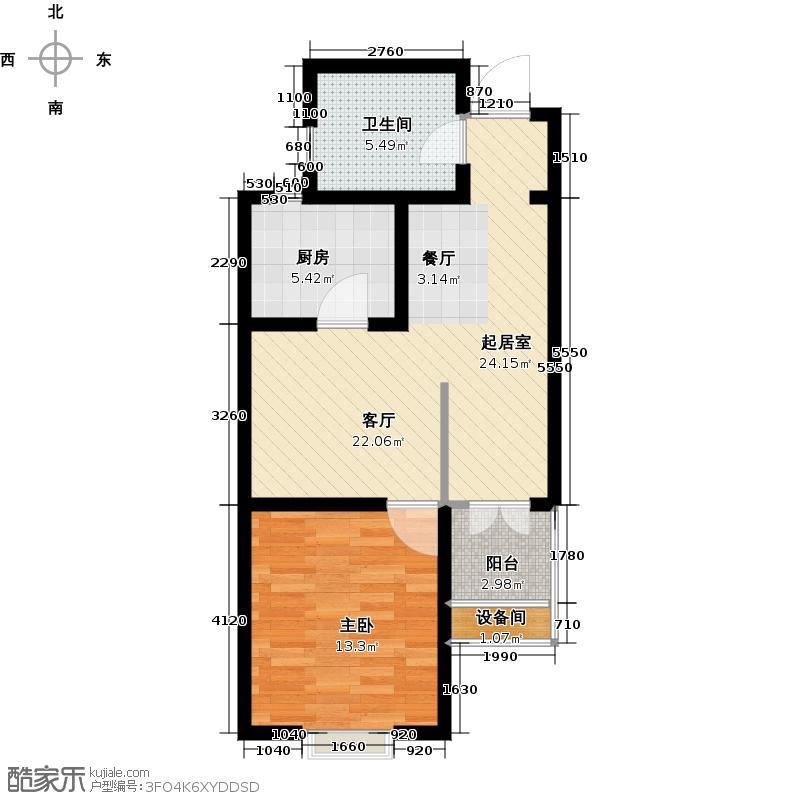 荣盛阳光苑60.00㎡一房二厅一卫-60-70平方米-104套户型