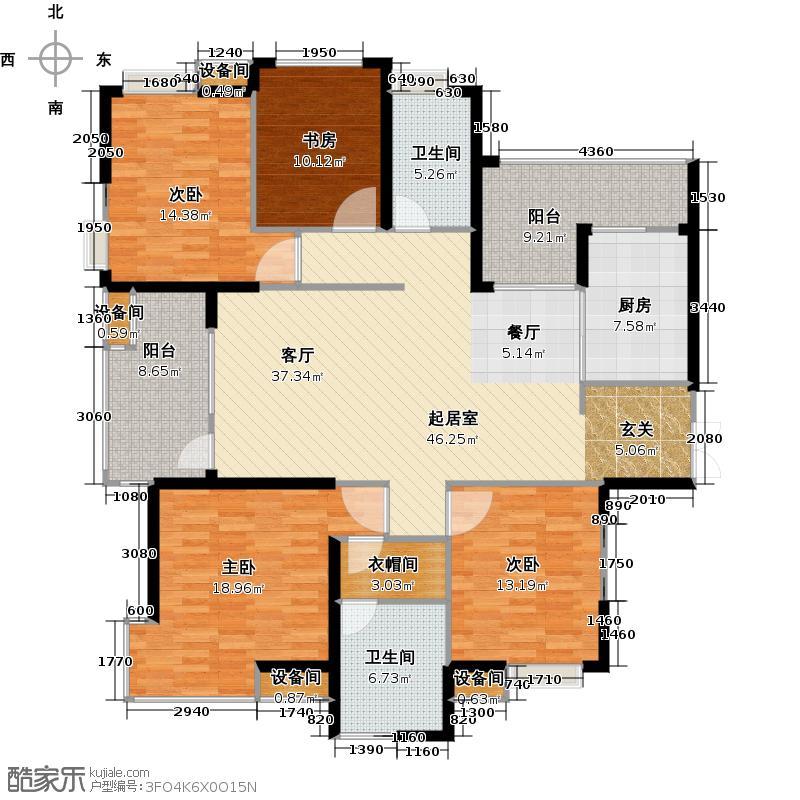 金地格林世界小高层D2户型4室2卫1厨