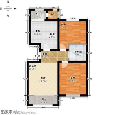 华厦津典三期川水园2室1厅1卫0厨97.00㎡户型图