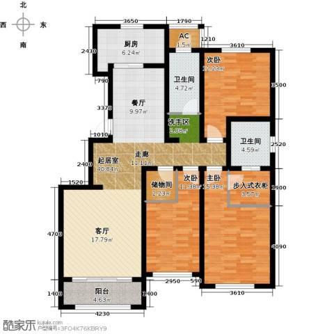 华厦津典三期川水园3室0厅2卫1厨156.00㎡户型图