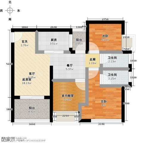 天诚国际2室0厅2卫1厨77.00㎡户型图