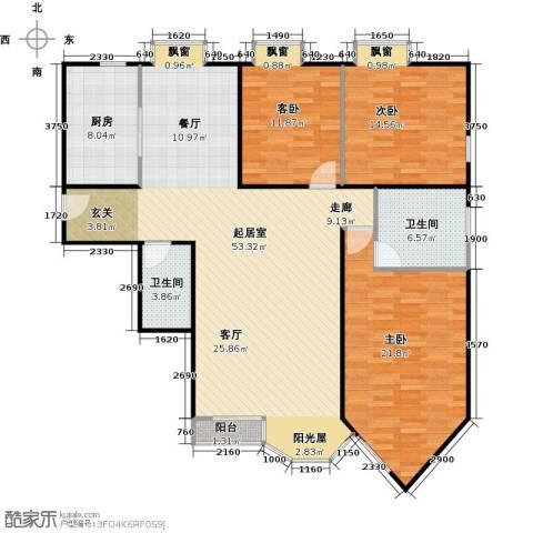 合生珠江罗马嘉园3室0厅2卫1厨143.00㎡户型图
