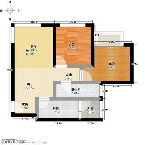 天诚国际2室0厅1卫1厨61.00㎡户型图