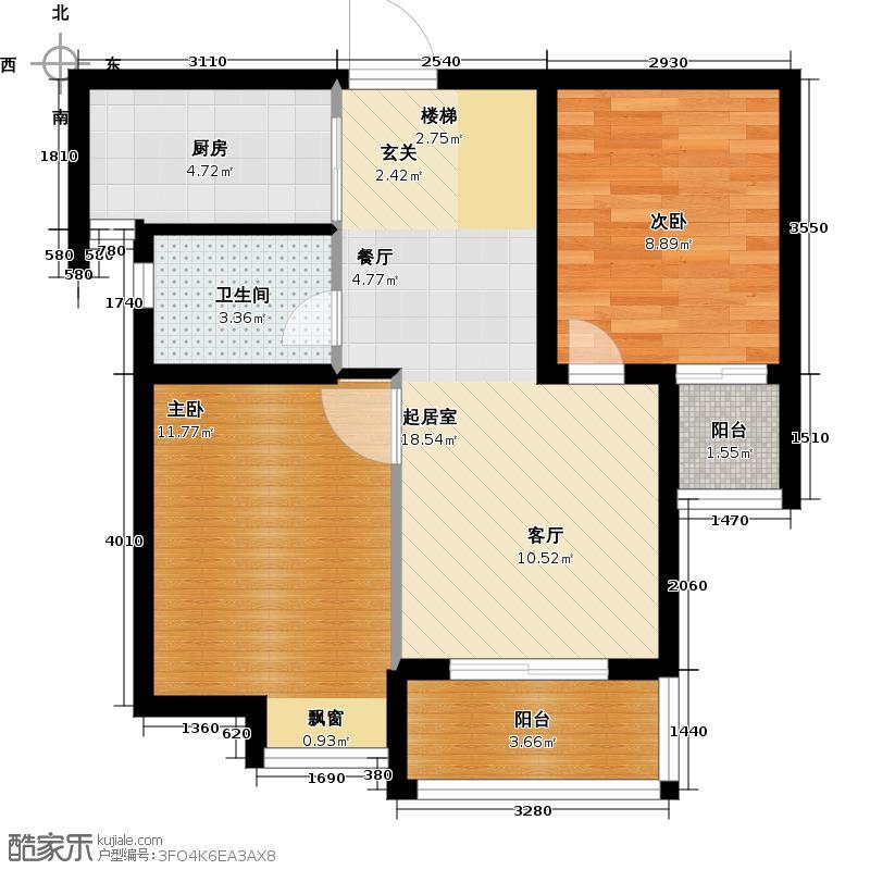 滨江明珠城61.00㎡12#楼A2户型2室2厅1卫