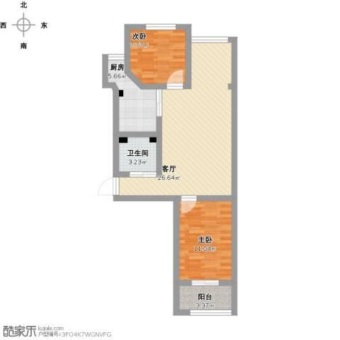 建欣苑五里2室1厅1卫1厨75.00㎡户型图