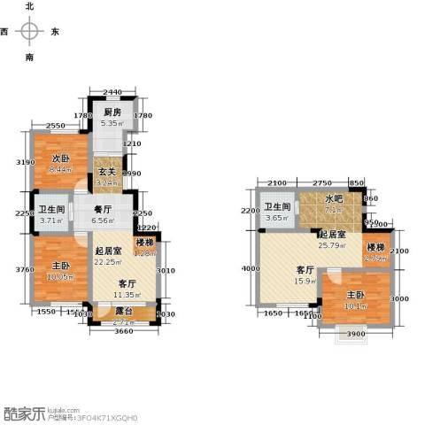 大唐东方盛世3室0厅2卫1厨127.00㎡户型图