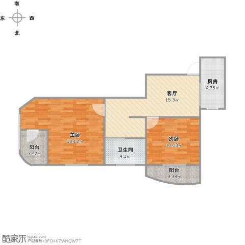 大华锦绣华城第16街区2室1厅1卫1厨79.00㎡户型图