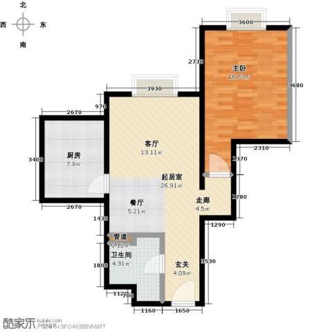 时代紫芳(竹园)1室0厅1卫1厨68.00㎡户型图