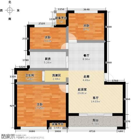 御景湾3室0厅1卫1厨86.00㎡户型图