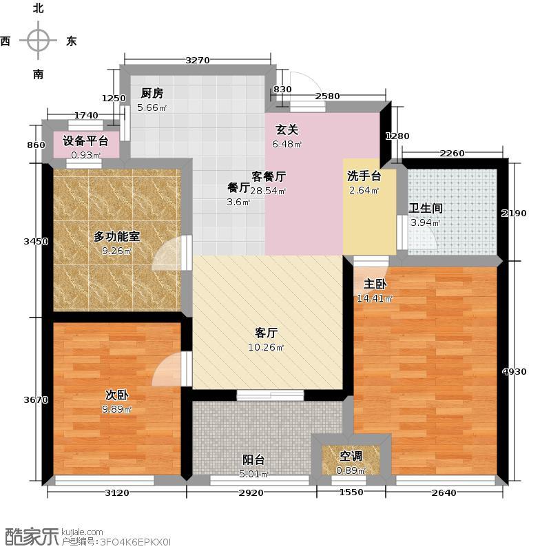 新城香溢紫郡83.00㎡三期O户型创变三房户型3室2厅1卫