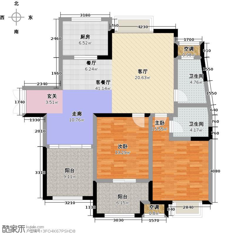 阳光龙庭122.41㎡二期R户型3室2厅2卫