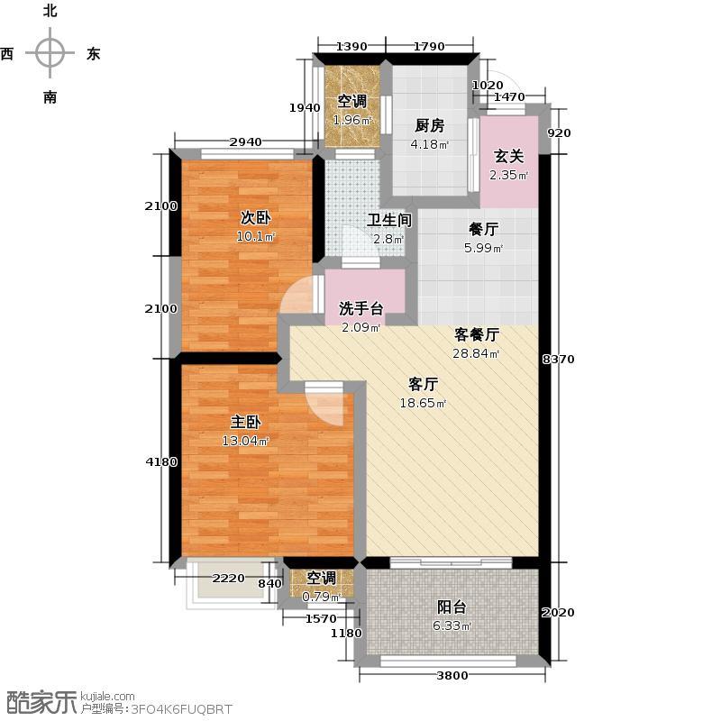 龙湖香醍漫步80.00㎡三期滨水三角洲80平米户型2室2厅1卫