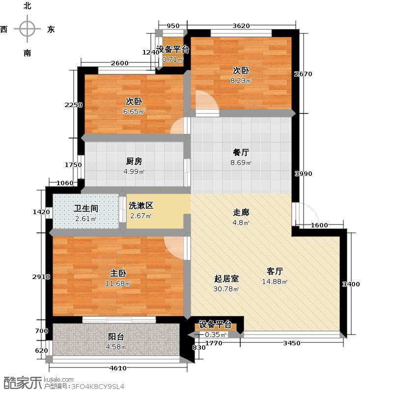 御景湾82.00㎡三房二厅一卫--82平方米-12套。户型