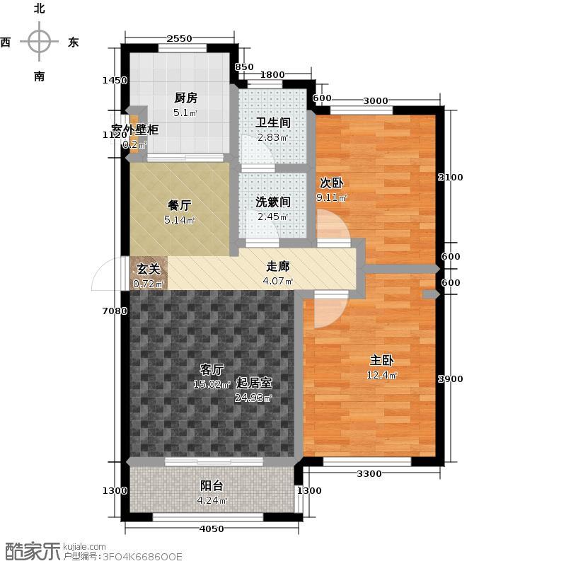 知语山户型2室1卫1厨