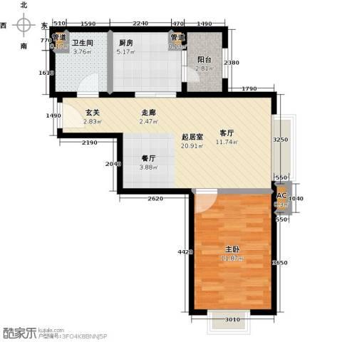 时代紫芳(竹园)1室0厅1卫1厨67.00㎡户型图