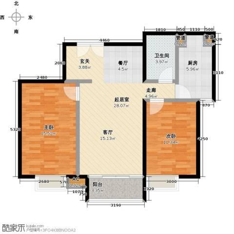 时代紫芳(竹园)2室0厅1卫1厨102.00㎡户型图
