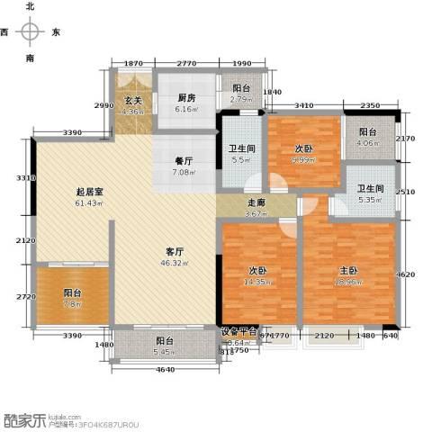 美荔尚筑3室0厅2卫1厨163.00㎡户型图