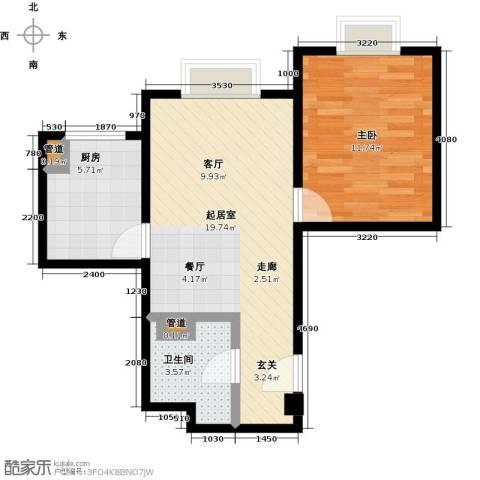 时代紫芳(竹园)1室0厅1卫1厨62.00㎡户型图