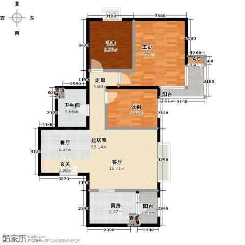 时代紫芳(竹园)3室0厅1卫1厨118.00㎡户型图