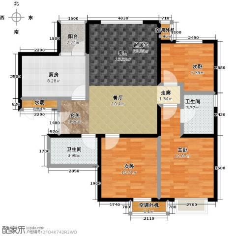 宝龙花苑3室0厅2卫1厨113.00㎡户型图