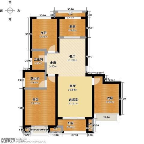 科达府左华苑3室0厅2卫1厨123.00㎡户型图
