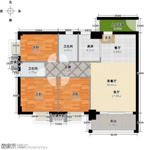 凯旋御景豪庭3室1厅2卫1厨100.00㎡户型图