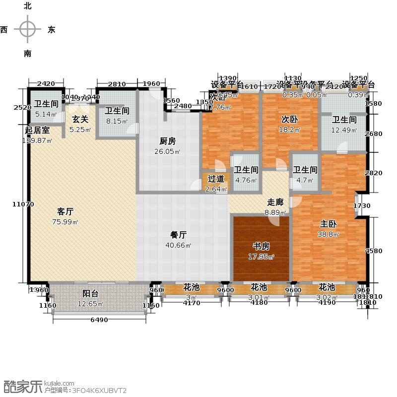 湖畔佳苑二期4房2厅5卫,面积约340平方米户型