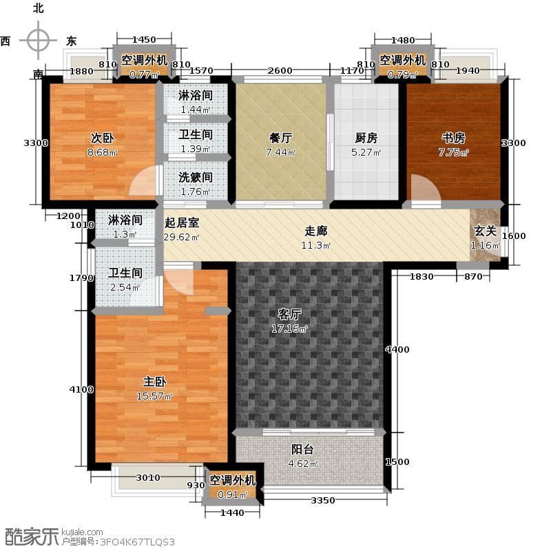 华发新城119.06㎡F1a标准层 三室二厅二卫户型3室2厅2卫