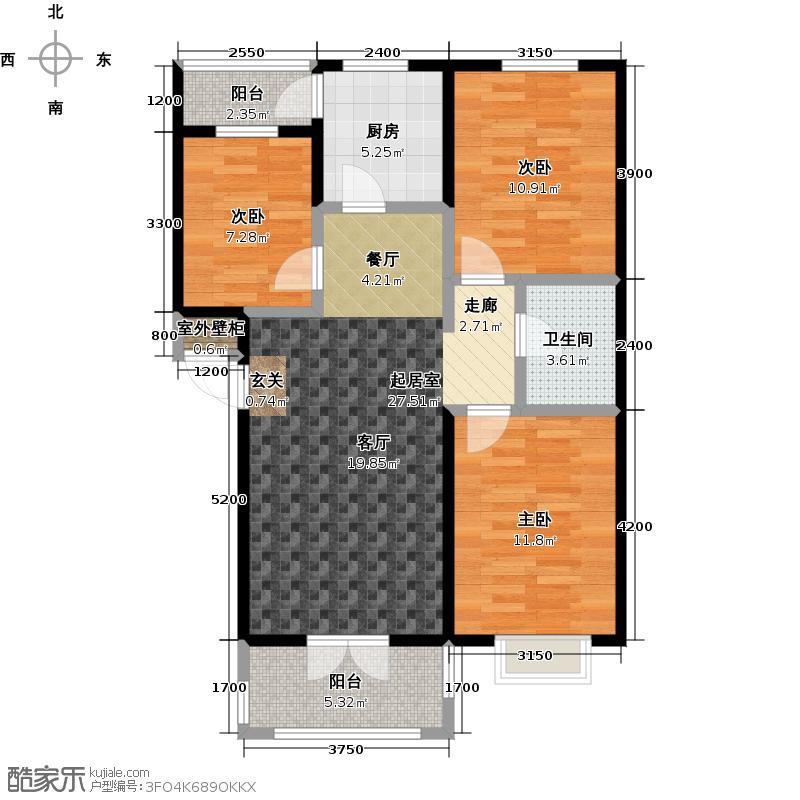 腾龙雅源腾龙雅源三室二厅一卫102.8平米户型在售户型