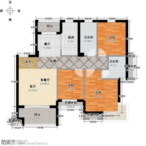 嘉业海棠湾3室1厅2卫1厨103.00㎡户型图