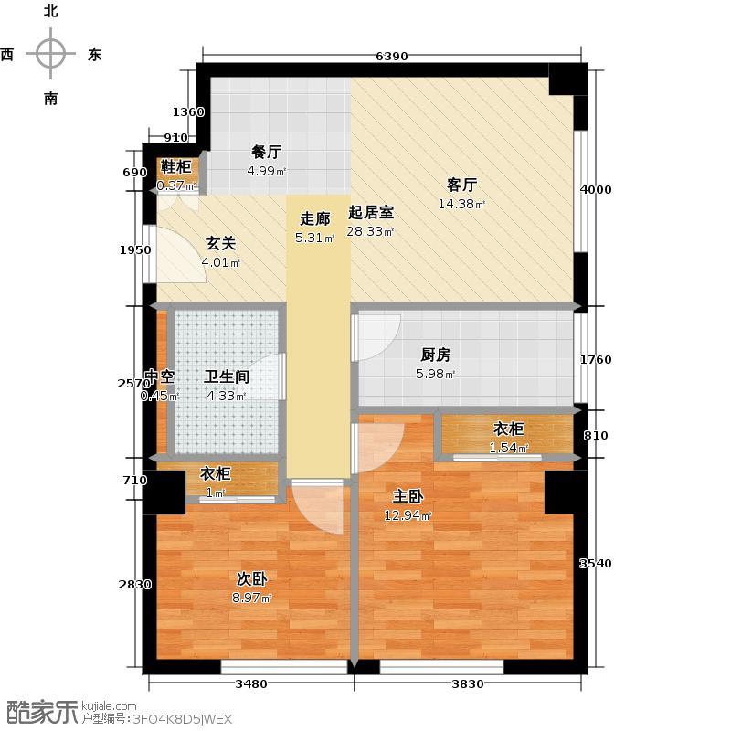 乐成豪丽公寓94.77㎡A2-a两室两厅一卫户型