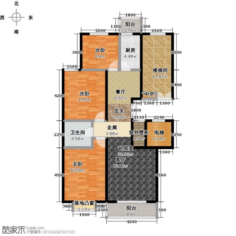 鼎泰翠湖山112.00㎡C-1户型3室2厅1卫