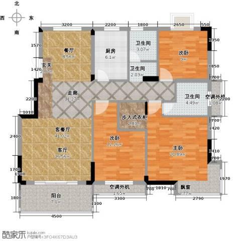 嘉业海棠湾3室1厅2卫1厨117.00㎡户型图
