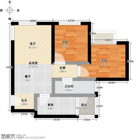 天诚国际2室0厅1卫1厨60.00㎡户型图
