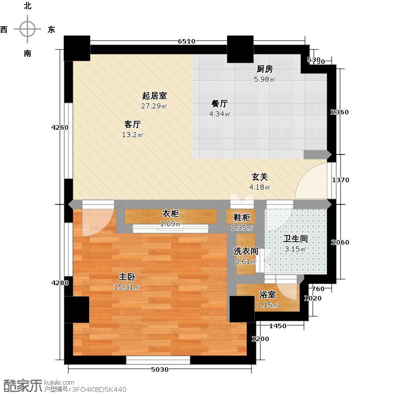 乐成豪丽公寓78.17㎡A1-1a一室一厅一卫户型