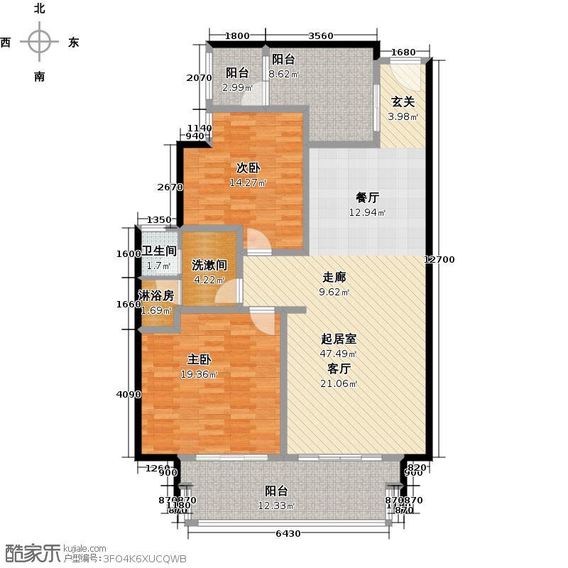 湖畔佳苑二期2房2厅1卫,面积约125平方米户型