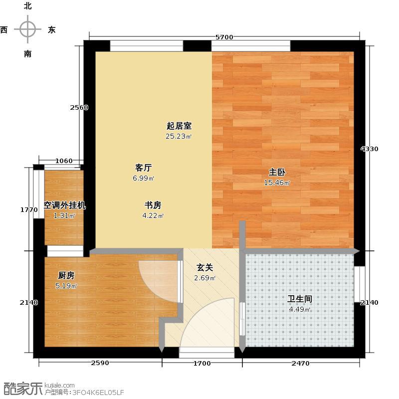 吾悦国际广场40.58㎡F4户型 1室1厅1卫户型1室1厅1卫