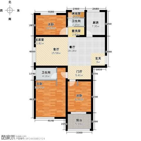 青枫国际3室0厅2卫1厨120.00㎡户型图