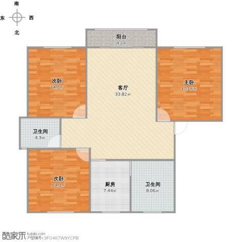 叠翠苑3室1厅2卫1厨137.00㎡户型图